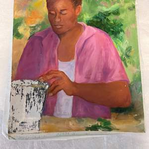 Lot # 173 Painting of Person Admiring Pottery - No Frame