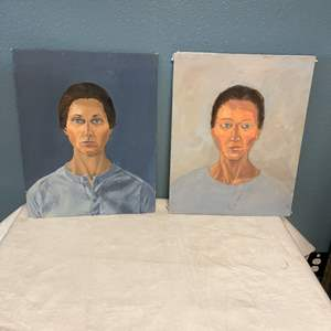 Lot # 174 Two Portraits Of The Same Woman In Different Styles