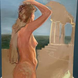 Lot # 176 Painting of Nude Woman Looking Out to Sea - No Frame