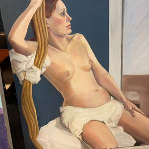 Lot # 178 Painting of Naked Woman with Blanket Lounging - No Frame