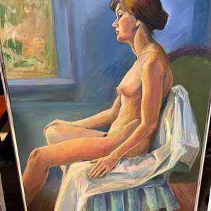 Lot # 179 Painting of Naked Woman Sitting On Blue Chair - Has Frame