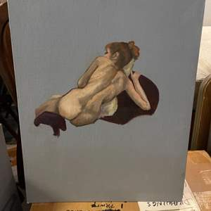 Lot # 180 Naked Woman Lounging Turned Away, signed Jacquie Flood - No Frame