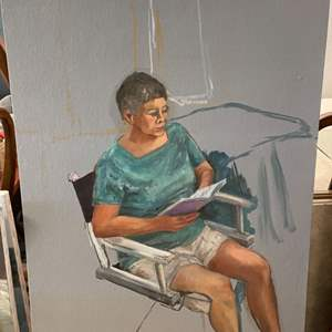 Lot # 181 Painting of Woman Reading - No Frame