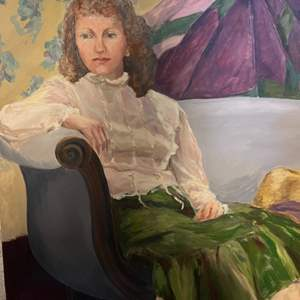 Lot # 182 Painting of Woman Sitting On Blue Couch - No Frame