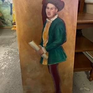Lot # 184 Painting of Renaissance Man, signed Jacquie Flood - No Frame