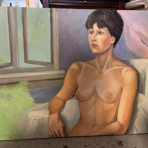 Lot # 188 Painting of Nude Woman Looking Into the Distance - No Frame