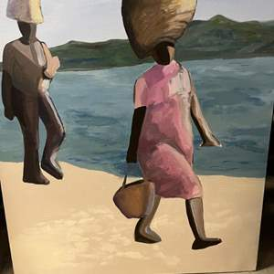 Lot # 189 Painting of People Traveling On Beach - No Frame