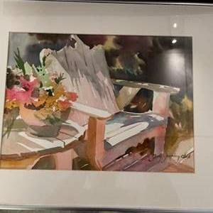 Lot # 190 Painting of Lawn Chair and Flowers, signed Judy Greenberg CWA