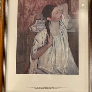 "Lot # 191 Painting Titled ""Girl Arranging Her Hair"" by Mary Cassatt"