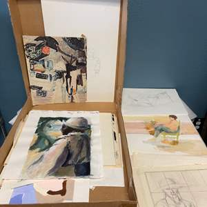 Lot # 194 Box Full of Sketches for Paintings
