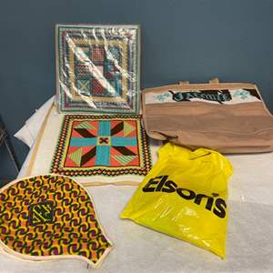 Lot # 205 Lot of Needlepoint - Tote Bag, Pillow Covers, Racket Bag, Includes String