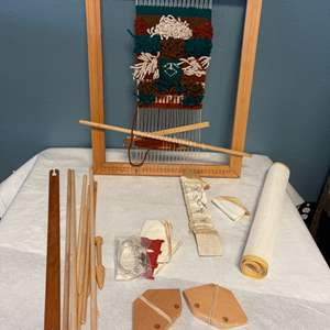 Lot # 210 Loom with Design and Extra Pieces, Plus Needlepoint