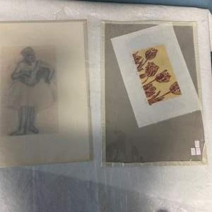 Lot # 212 Sketch of Ballerina and Print of Flowers - Still in Plastic