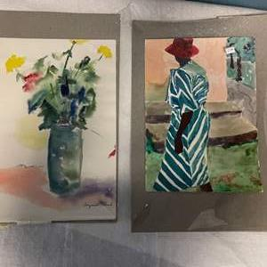Lot # 213 Print of Flowers in Vase and Person Walking, signed Jacquie Flood - Still In Plastic