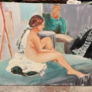 Lot # 224 Portrait of Nude Girl, Signed Jacquline Flood '69 - No Frame