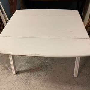 Lot # 245 White Wooden Extending Table