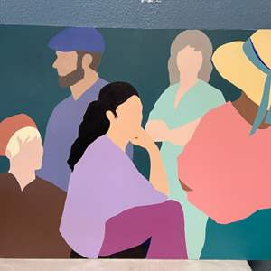 Lot # 254 Minimalistic Group of People Painting