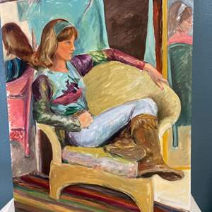 Lot # 256 Woman Sitting Down Painting