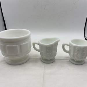 Lot # 262 Pair of Floral Cups and Bowl