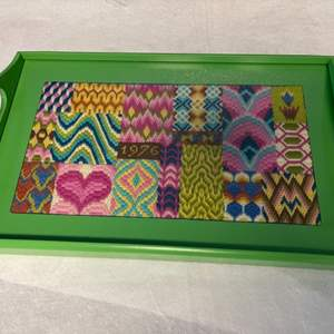 Lot # 269 Green Wood Tray w/ Needle Point & Glass Top