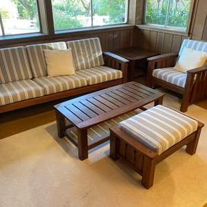 Lot # 3 Quality Wood Family Room Furniture Set