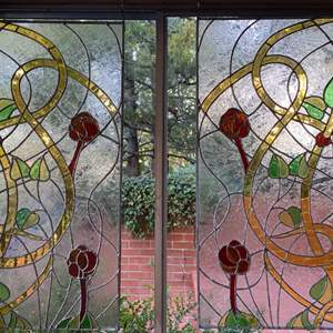 Lot # 4 Pair of Stained Glass Panels