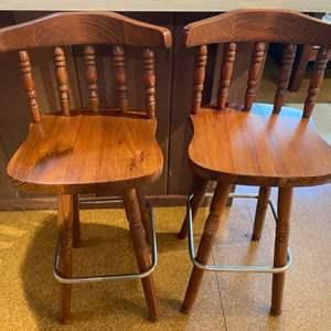 Lot # 7 Pair of Wood Swivel Bar Stools