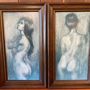 Lot # 10 Two Framed Prints of Nude Women, Artist Vel Miller