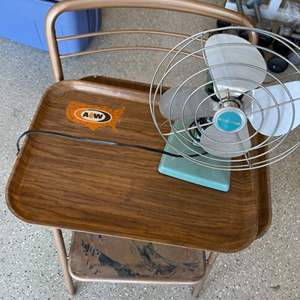 Lot # 20 Collectibles Lot - Chair, Eskimo Fan, and 2 Trays