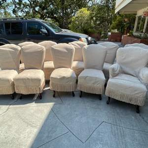 Lot # 30 (Take as many you want) Set of 10 Merlot Striped Velveteen Dining Chairs With Covers
