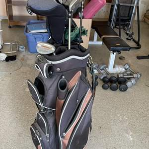 Lot # 36 Lot of Golf Clubs, Umbrella, and Tommy Armour Golf Bag