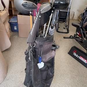 Lot # 37 Lot of Golf Clubs, Umbrella, and Datrek Golf Bag