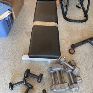 Lot # 40 Lot of Dumbbells and Workout Bench