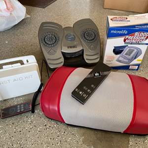 Lot # 41 Lot of Health and Wellness Equipment (Smart Bracelet, Blood Pressure Monitor, Massagers, and First Aid Kit) - UNTESTED