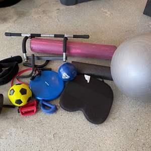 Lot # 45 Lot of Exercise Equipment - Foam Roller, Pull-Up Bar, Ab Roller