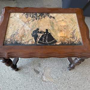 Lot # 55 Vintage Floral Inlay Wood Side Table (BROKEN GLASS)