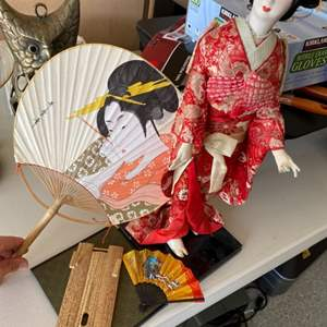 """Lot # 63 """"Madam Butterfly"""" Figurine with Japanese Accessories"""