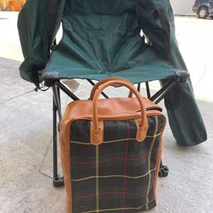 Lot # 64 Lot of Two Foldable Chairs and Vintage Thermos Picnic Set With Bag