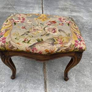 Lot # 68 Small Footstool with Needlepoint Top, Floral Design