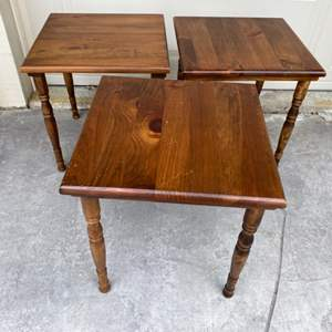 Lot # 73 Three Square, Wooden Endtables