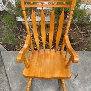 Lot # 79 Wooden Rocking Chair with Flower Design on the Top