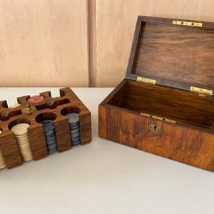 Lot # 81 Vintage Poker Chips with Storage Box