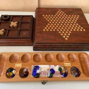 Lot # 82 Lot of Classic Wooden Games - Chinese Checkers, Mancala, Tic-Tac-Toe