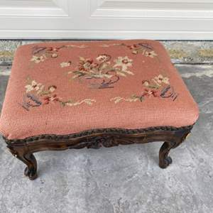 Lot # 85 Wooden Footstool with Floral Designs on the Wood and Upholstery (Needlepoint)