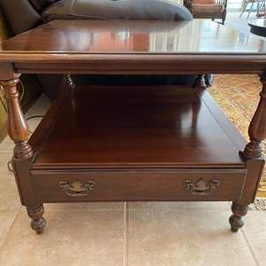 Lot # 101 Wooden Side Table with Bottom Shelf and Drawer