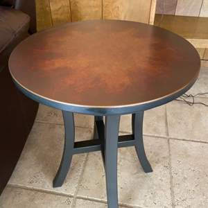 Lot # 105 Small Round Side Table with Metal Legs
