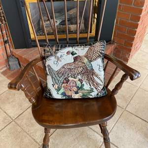 Lot # 107 Decorative Wooden Chair with Cornucopia Throw Pillow