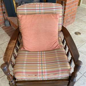 Lot # 108 Wooden Chair with Plaid Upholstery, Plus Pink Throw Pillow