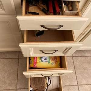 Lot # 117 Contents of 4 Drawers - Snacks, Towels, Vitamins, Wine Openers, Tools, Etc.
