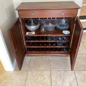 Lot # 127 Pier One Bar Cabinet (Contents Not Included)